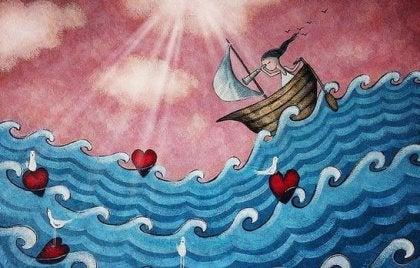 Teknedeki kız-kalpler-sanat