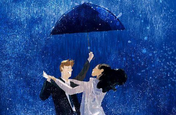 yağmurda dans eden çift