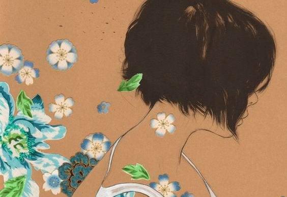 çiçeklerin arasında silinen kız