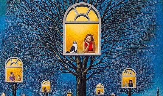 camdan bakan kadın ve kedi