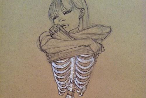 derisini bile soyunup sadece kemik kalan kız