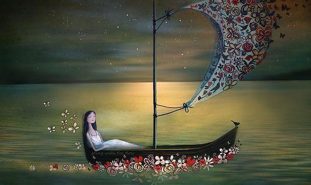 çiçekli yelken ve kayık
