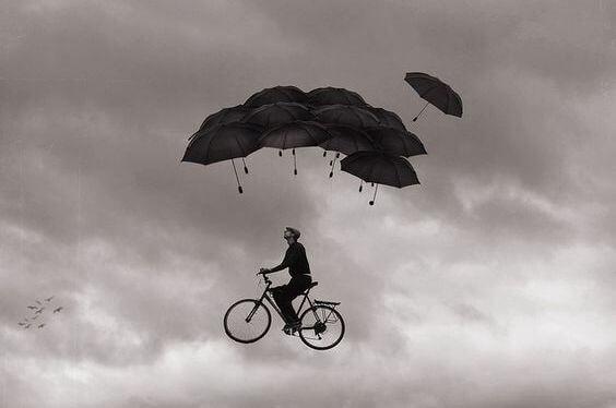 şemsiyeler ve bisikletle uçmak