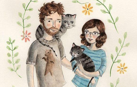 bir çift, kedileri ile beraber mutlu