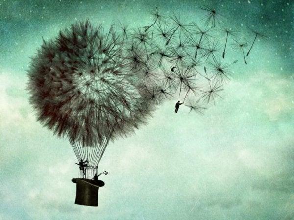 karahindiba balonlar ve şapkalarla uçmak