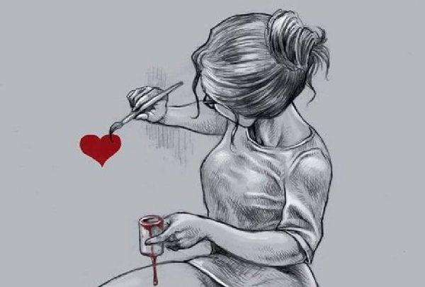 kalp resmi yapan kız