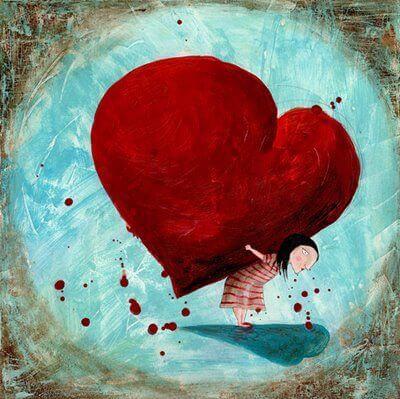 sırtında kalp taşıyan kız