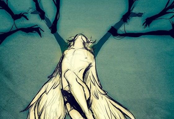 Kanatları eller tarafından çekiştirilen melek