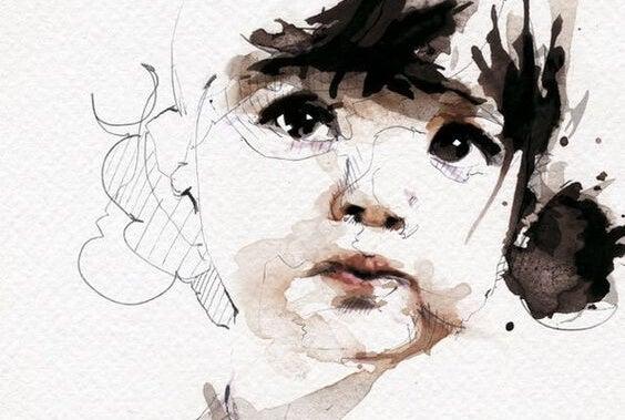 yağlı boya ile yapılmış küçük kız çocuğu portresi