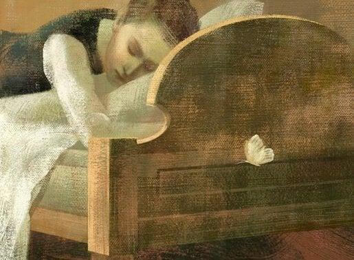 yatakta uyuyan kadın
