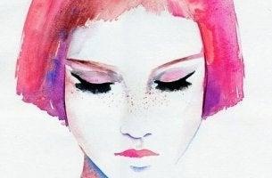 sulu boya resminde çilli ve pembe saçlı kadın