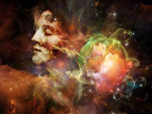 Renkli galaksi ile düşünen adam