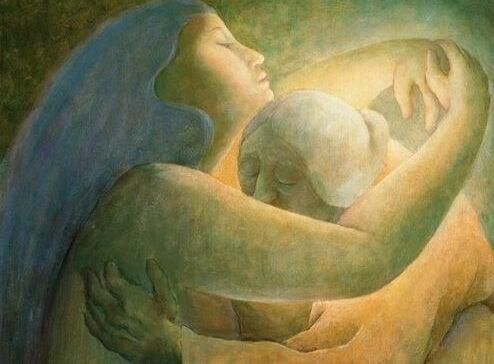 Birbirlerine sevgi ile sarılan kadınlar