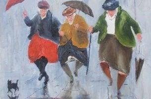 şemsiyeli yaşlı kadınlar