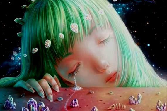 yeşil saçlı mutsuz kız
