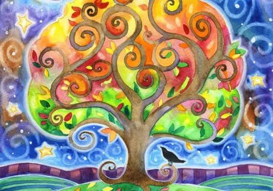 rengarenk ağaç