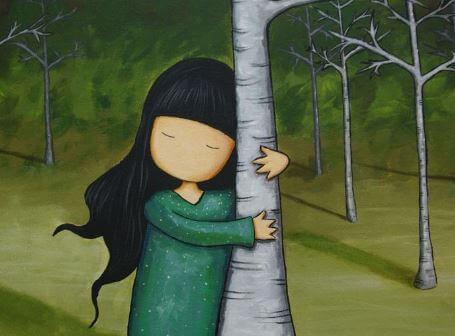 ağaca sarılan kız