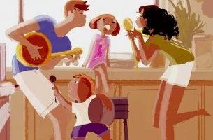 Evde şarkı söyleyen aile