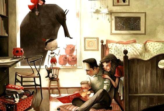 Evde mutlu mesut kitap okuyan aile