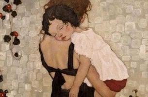anne ve çocuk sarılıyor