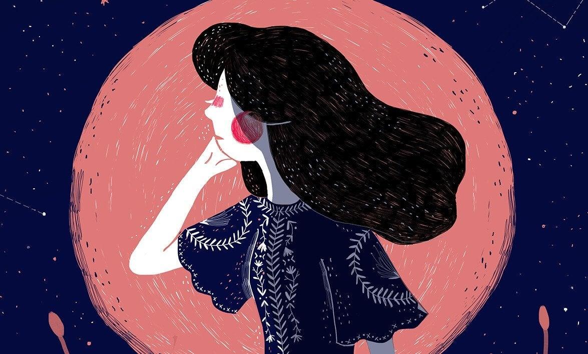 ay ışığında sesi dinleyen kız