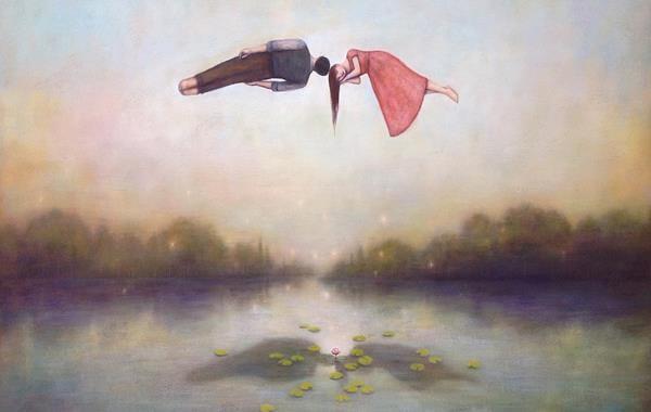 gölün üstünde uçan çift