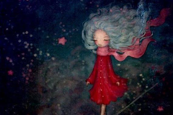 kırmızı elbiseli güçlü kız