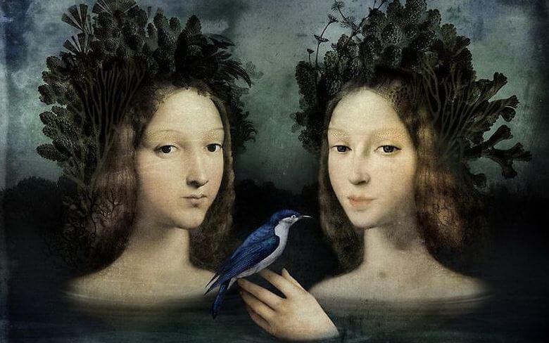 kuş ve ikiz kızlar