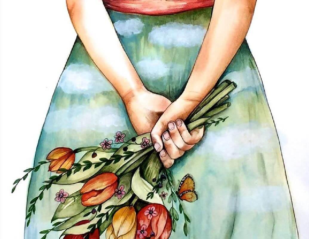 elinde bir demek çiçek tutan kadın