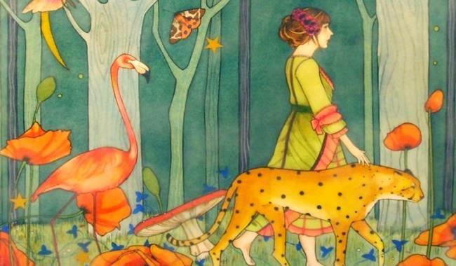 Jaguar ve flamingo ile ormanda gezen kadın