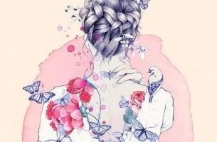 saçlarını örülü kadının sırtındaki çiçekler kelebekler ve kuşlar