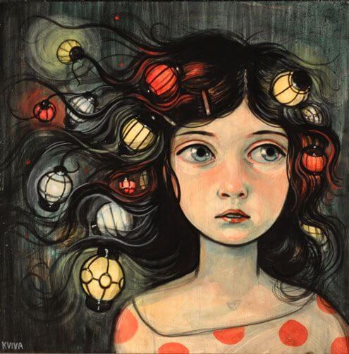 saçında lambalar olan kadın
