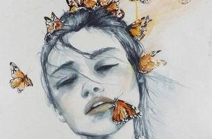 kelebekli kadın suratı