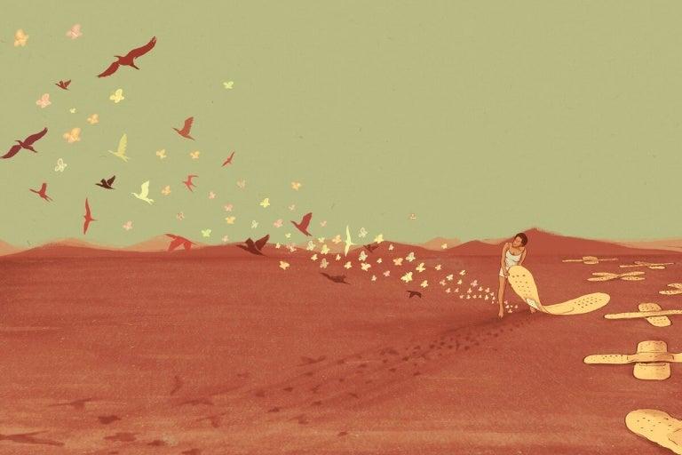 çölde kelebekleri serbest bırakan kadın
