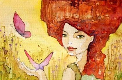 kelebekli kadın
