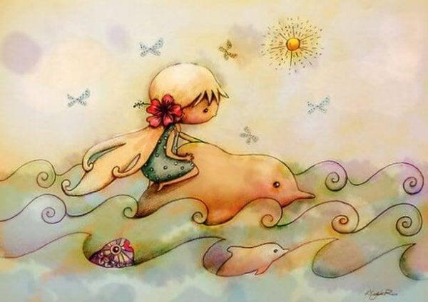 küçük kız ve yunus