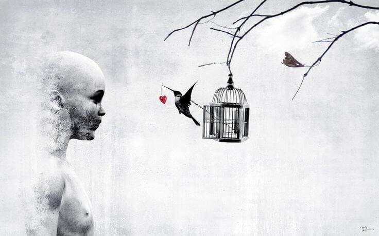 kuş ve kalpli kafese bakan adam