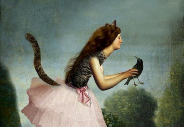 kuşa bakan kız