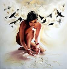 kuşlar çıplak kadın