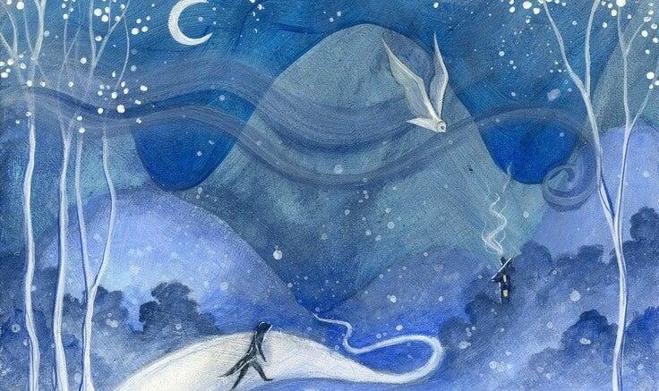gece uçan beyaz kuş