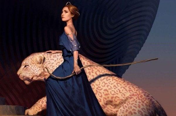 Jaguarı ile beraber ava çıkan kadın