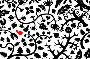 ağaç dalları, yapraklar ve gözler ile siyah beyaz tablo