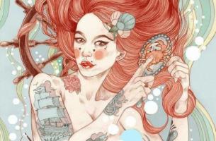 Kızıl saçlı çılgın makyajlı kadın
