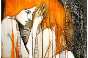 turuncu saçlı kadının boyası akıyor