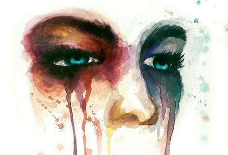 yağlı boya portresinde ağlayan kadın
