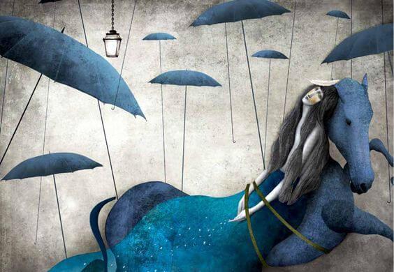 şemsiyeler arasında at üzerinde kadın