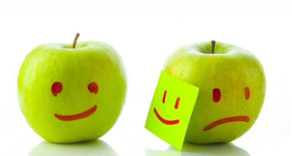 biri mutlu biri mutsuz iki elma