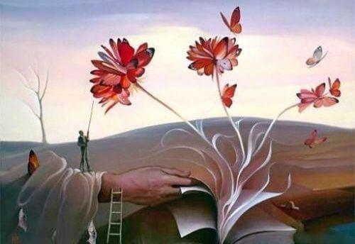 çiçekler, kelebekler, kitap ve el
