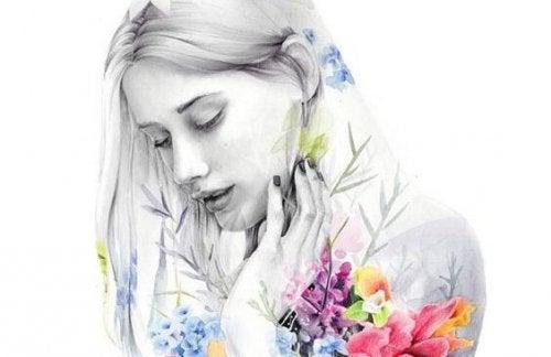 kadın ve çiçekler