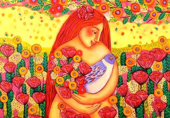 çiçekler kuş ve kadın